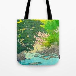 Vintage Japanese Woodblock Print Beautiful Water Creek Grey Rocks Green Trees Tote Bag