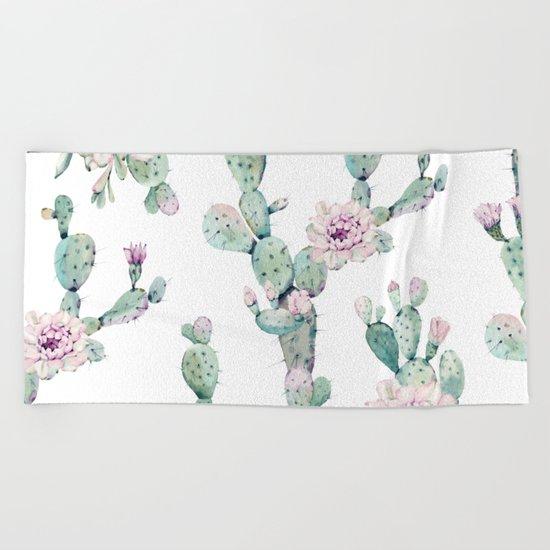 Arizona Desert Rose Cactus Pattern Beach Towel