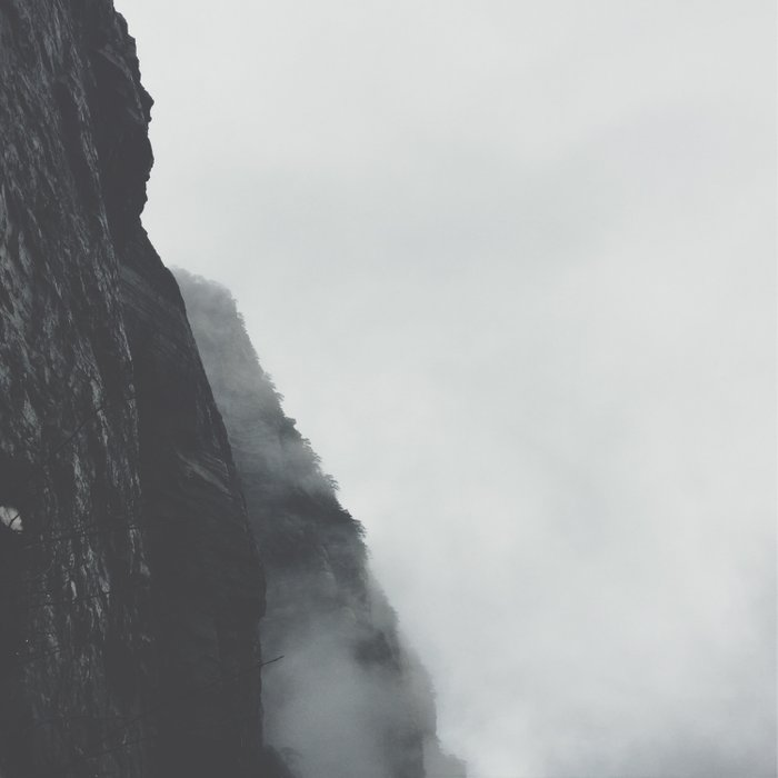 Black And White Misty Cliff Photography Mystery Foggy Landscape Comforters