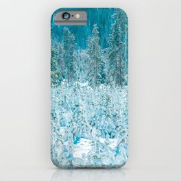 Tiny Forest // Snow Covered Evergreen Trees Spring Snow in the Mountains Cool Moody Photograph iPhone Case