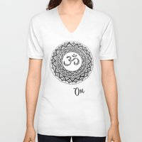 om V-neck T-shirts featuring OM by Fie Bystrup