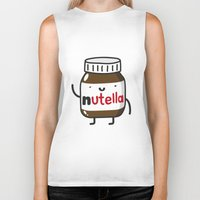 nutella Biker Tanks featuring HAPPY NUTELLA IS HAPPY by Agustin Flowalistik