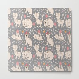 Cute Kittycat Pattern Metal Print