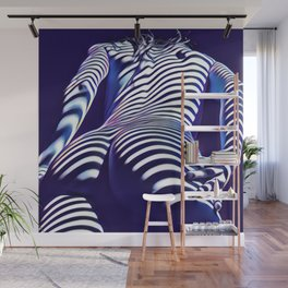 2020s-AK Sensual Blue Striped Woman from Behind Wall Mural