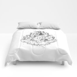 Hogwarts Crest Black and White Comforters