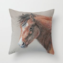 PONY Brown Horse portrait Pastel drawing Cute Foal Colt Baby Horse Throw Pillow