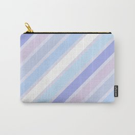 Retro Diagonal Stripes in Pastel Periwinkle Carry-All Pouch