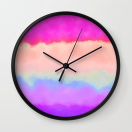 Modern girly pink magenta violet lavender watercolor stripes Wall Clock