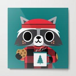 Raccoon in Red Buffalo Plaid Sweater Metal Print