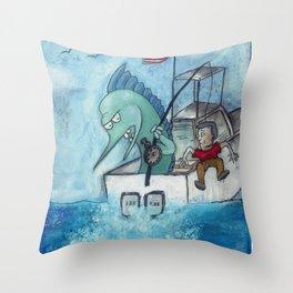 Man vs Marlin Throw Pillow