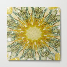 Green and Yellow with Sparkles Kaleidoscope Mandala Retro Abstract Metal Print