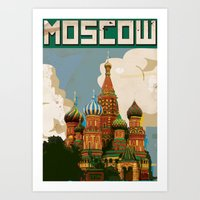 russia Art Prints featuring Russia Red Square st bazils cathedral vintage travel poster by Nick's Emporium Gallery