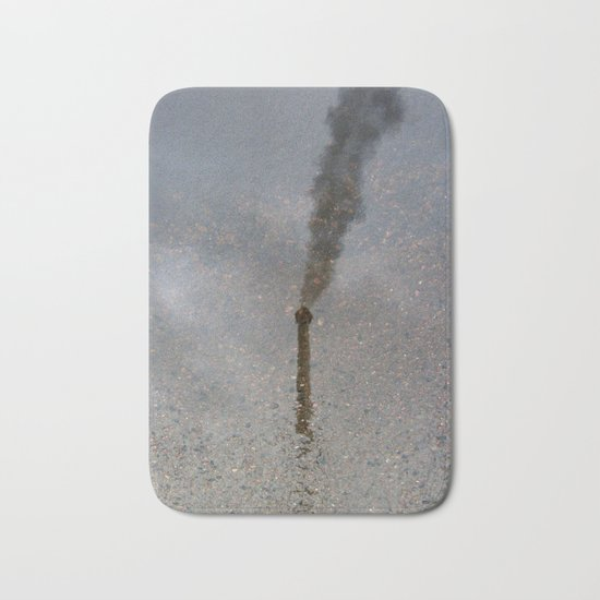 Factory Chimney  Reflection in Water Bath Mat