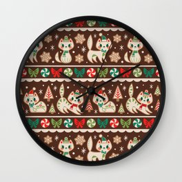 Striped Gingerbread Kitties (Brown) Wall Clock
