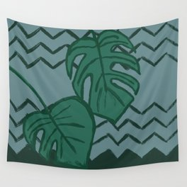 Split Leaf Philodendron Green and Blue Wall Tapestry