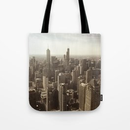 Chicago Buildings Sears Tower Sky Sun Color Photo Tote Bag