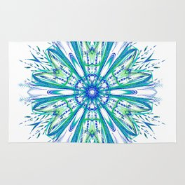 Blue and Green Snowflake Rug