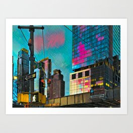 NYC Skyline at Sunset Art Print