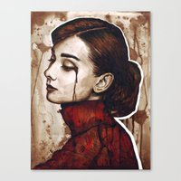 audrey Canvas Prints featuring Audrey  by Olechka