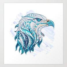 Blue Ethnic Eagle Art Print