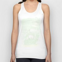 pirate ship Tank Tops featuring Caleuche Ghost Pirate Ship Variant by Roberto Jaras Lira
