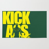 ass Area & Throw Rugs featuring KICK ASS by justjeff