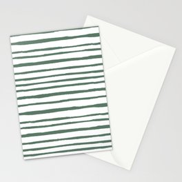 Pastel green hand painted watercolor stripes Stationery Cards