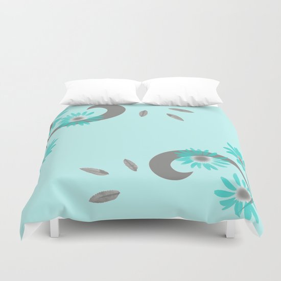 Floral Scroll Design - Turquoise Duvet Cover