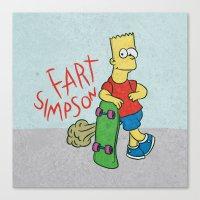 simpson Canvas Prints featuring FART SIMPSON by Josh LaFayette