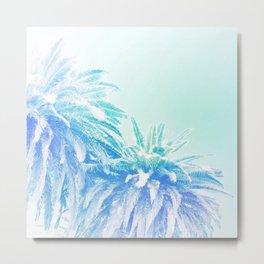 Dreamy and Fresh Palm Blues - Blue and Aqua Metal Print