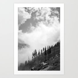 Mountains, Valleys and Forests. Yosemite National Park, Black and White Photography, Clouds and Fog Art Print