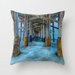 Long Exposure Under Newport Pier Throw Pillow