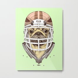 American Pug Football Yellow Metal Print