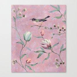 Bird on spring flowers Canvas Print