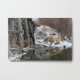 Winter River-Train Bridge Photo  Metal Print
