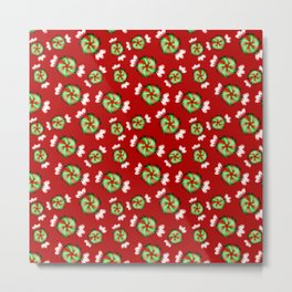Cute lovely sweet decorative red and green candy pattern on Christmas red background. Metal Print