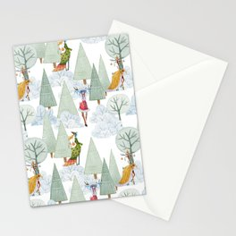 Whimiscal Animals Decorate The Christmas Tree In Winter Forest Stationery Cards