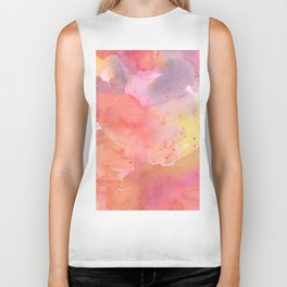 Sunset Color Palette Abstract Watercolor Painting Biker Tank