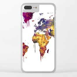 Watercolor Map of the World Map Clear iPhone Case