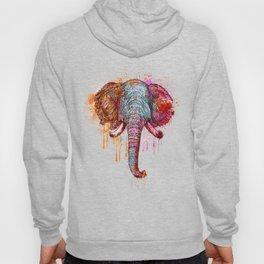 Watercolor Elephant Head Hoody