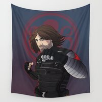 winter soldier Wall Tapestries featuring Winter Soldier  by Inkforwords