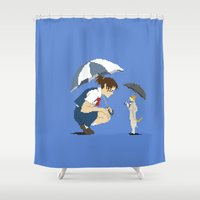 returns Shower Curtains featuring Cat Returns by 8-bit Ghibli