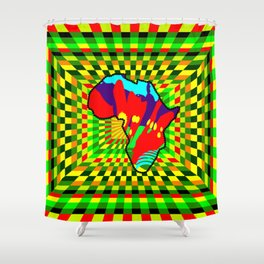 Colorful African Check Pattern Abstract Print Shower Curtain
