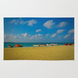 Colorful Boats Adorn the Tranquil Beach Rug