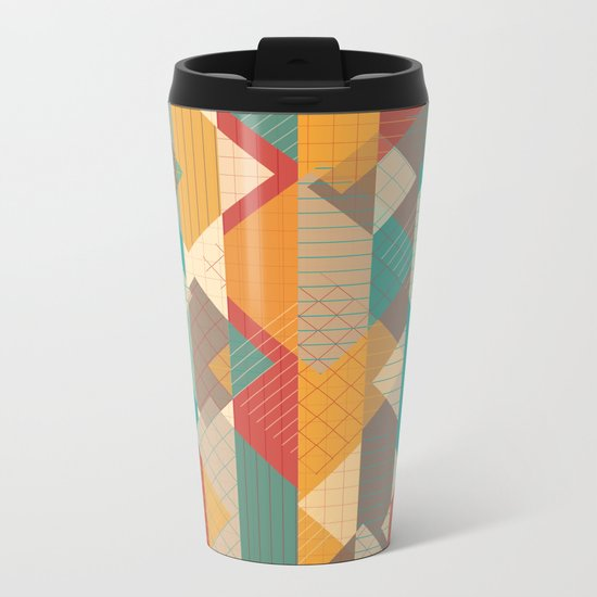 Geometric Geek Pattern - Squares, Stripes, Grids Metal Travel Mug