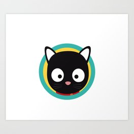 Black Cat with Green Circle Art Print