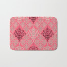 red&grey Baroque Pattern on gentle raspberry Bath Mat
