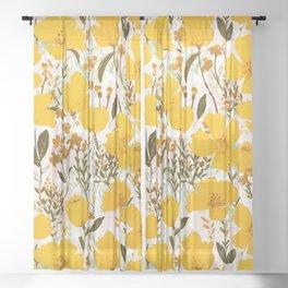 Yellow roaming wildflowers Sheer Curtain