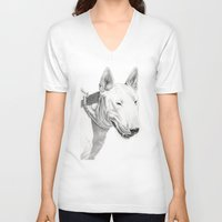bull terrier V-neck T-shirts featuring Dogs: Bull Terrier by Ruben Pino