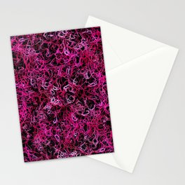 Hot Pink and Black Electric Lines Stationery Cards